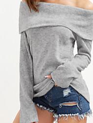 economico -Per donna Manica lunga Pullover Tinta unica Senza spalline