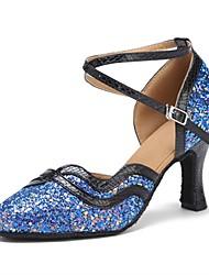 للمرأة عصري بريّق جلد صندل كعب متخصص كعب مخصص أزرق مخصص