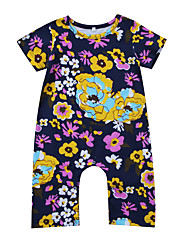 cheap -Baby Girls' Daily Going out Floral One-Pieces, Modal Spring Summer Active Boho Short Sleeve Purple 90 100 80 70