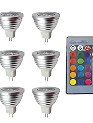 economico -6pcs 3W 280lm MR16 Faretti LED 1 Perline LED Oscurabile Decorativo Controllo a distanza Colori primari 12V