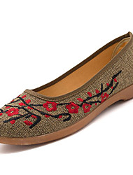 cheap -Women's Shoes Rubber Spring Comfort Flats Flat Heel Round Toe for Outdoor Red Khaki