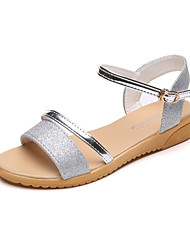 cheap -Women's Shoes Glitter Summer Comfort Slippers & Flip-Flops Walking Shoes Chunky Heel Block Heel Open Toe Hollow-out for Casual Gold Silver