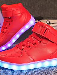 Недорогие -Мальчики / Девочки Обувь Полиуретан Осень Удобная обувь / Обувь с подсветкой Кеды Шнуровка / На крючках / LED для Красный / Синий / Розовый