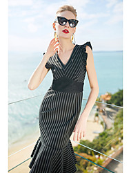 cheap -ZIYI Women's Sophisticated Trumpet / Mermaid Dress - Striped, Lace V Neck