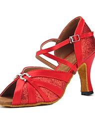 baratos -Mulheres Sapatos de Dança Latina Cetim Sandália / Salto Recortes Salto Personalizado Personalizável Sapatos de Dança Vermelho
