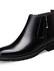 cheap -Men's Shoes Cowhide Winter Fall Snow Boots Comfort Boots Booties/Ankle Boots for Casual Black Brown