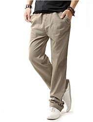 cheap -Men's Linen Chinos Pants - Solid Colored Split