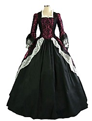 abordables -Victorien Rococo Costume Femme Adulte Robes Rouge + noir. Vintage Cosplay Flocage raisonnable Demi Manches Gigot / Ballon