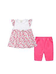 billige -Spædbarn Pige Basale Blomstret Uden ærmer Bomuld Tøjsæt / Sødt