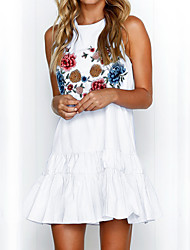 cheap -Women's Holiday Street chic A Line Dress - Floral White High Waist Mini