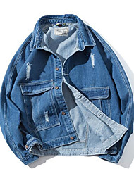cheap -Men's Street chic Denim Jacket - Solid Colored