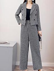 abordables -Mujer Tallas Grandes Básico Manga Farol Blazer - A Cuadros, Estampado Cuello Camisero Pantalón