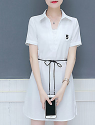 cheap -Women's Holiday Street chic Cotton Slim A Line Dress - Solid Colored Shirt Collar