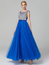 cheap -A-Line Illusion Neckline Floor Length Satin Tulle Prom / Formal Evening Dress with Sequin by TS Couture®