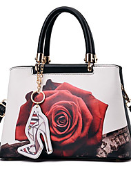 cheap -Women's Bags PU Shoulder Bag Pattern / Print for Casual Black / Gray / Khaki