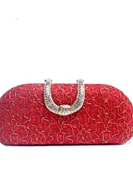 cheap -Women's Bags PU Leather / Polyester Evening Bag Crystals / Embossed Geometric Blue / Black / Red