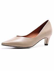 abordables -Femme Chaussures Cuir Printemps Automne Confort Chaussures à Talons Talon Bas Bout pointu pour Noir Marron Amande