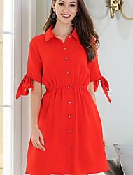 cheap -Women's Plus Size Basic / Street chic Butterfly Sleeves Slim A Line Dress - Solid Colored Shirt Collar / Summer