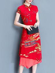 abordables -Femme Grandes Tailles Mince Gaine Robe Fleur Mao Midi / Asymétrique