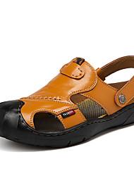Недорогие -Муж. Наппа Leather Весна / Лето Удобная обувь Сандалии Черный / Коричневый / Хаки