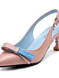 abordables -Femme Chaussures Polyuréthane Printemps Confort Sabot & Mules Talon Aiguille Bout pointu Noeud Blanc / Noir / Rose