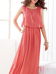 cheap -Women's Cute Swing Dress - Solid Colored, Lace High Rise Maxi V Neck