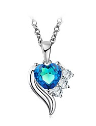 cheap -Women's Cubic Zirconia Choker Necklace / Pendant Necklace - Sterling Silver, Crystal Heart, Flower Classic, Vintage, Elegant Light Blue 49 cm Necklace One-piece Suit For Wedding, Evening Party