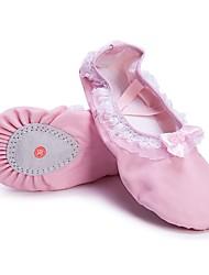 Недорогие -Девочки Обувь для балета Полотно На плоской подошве Кружева На плоской подошве Персонализируемая Танцевальная обувь Розовый / В помещении
