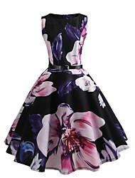 abordables -Mujer Chic de Calle Boho Corte Bodycon Corte Swing Vestido - Estampado, Floral Hasta la Rodilla