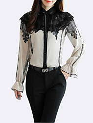 cheap -Women's Holiday Basic Blouse - Color Block, Lace Stand