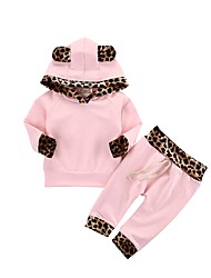 cheap -Toddler Girls' Solid Colored Leopard Long Sleeves Clothing Set