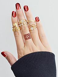 Недорогие -Ring Set - Сплав В форме листа, Сердце, Цветы Классический, Мода 7 Золотой Назначение Повседневные / Свидание