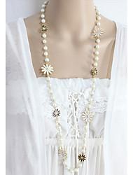 Недорогие -Воротничок Цветы Мода Очаровательный Белый 80 cm Ожерелье Бижутерия Назначение Повседневные Для вечеринок