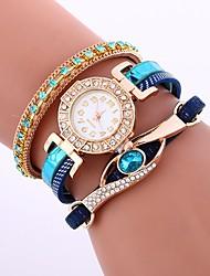 baratos -Mulheres Quartzo Relógio de Moda Chinês imitação de diamante PU Banda Casual Fashion Branco Azul Vermelho Bege