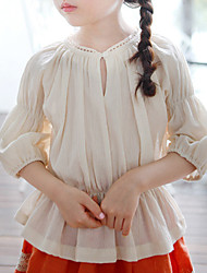 cheap -Girls' Solid Shirt, Cotton Linen Bamboo Fiber Acrylic Spring Short Sleeves Vintage Beige