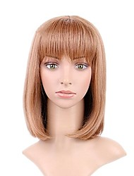 cheap -Synthetic Wig Straight Bob Haircut / Short Bob Synthetic Hair Natural Hairline Light Brown Wig Women's Short Capless Light Brown