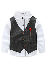 cheap -Boys' Daily Holiday Solid Colored Clothing Set, Cotton Polyester Summer Fall Long Sleeves Cute Basic White Red Navy Blue Gray Wine