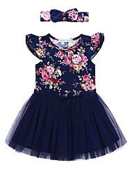 cheap -Girl's Daily Holiday Floral Dress, Cotton Polyester Summer Short Sleeves Cute Active Navy Blue