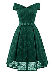 cheap -Women's Going out Vintage Slim Swing Dress - Solid Colored High Waist Off Shoulder / Deep V / Spring / Summer / Lace