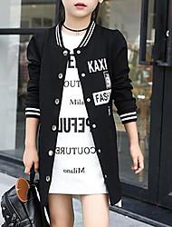 cheap -Girls' Weekend Pattern Jacket & Coat, Cotton Spring Fall Classic & Timeless Black Blushing Pink Gray