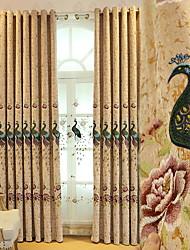preiswerte -Vorhänge drapiert Wohnzimmer Blumen Baumwolle / Polyester Stickerei