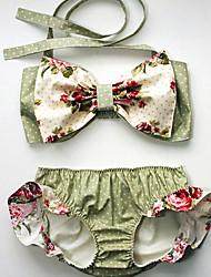 baratos -Para Meninas Vintage Sensual Floral Roupa de Banho, Algodão Acrílico Sem Manga Verde Claro