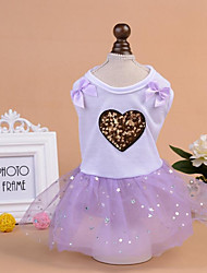 cheap -Dogs Cats Dress Dog Clothes Voiles & Sheers Color Block Stars Purple Pink Padded Fabric Costume For Pets Female Stylish Princess