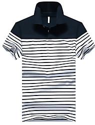 baratos -Homens Polo Básico Estampado, Listrado / Estampa Colorida Colarinho de Camisa / Manga Curta