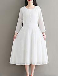 Недорогие -Жен. Простой С летящей юбкой Платье - Однотонный, Вышивка Средней длины