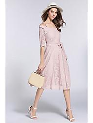 cheap -Women's Slim A Line Sheath Dress - Solid Colored Lace Strap Off Shoulder