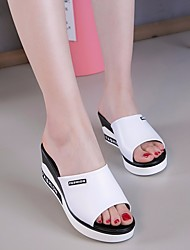 cheap -Women's Shoes Leather Summer Comfort Slippers & Flip-Flops Wedge Heel for White Black