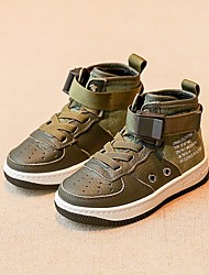 baratos -Para Meninos sapatos Pele Primavera Outono Curta / Ankle Botas Botas Curtas / Ankle para Casual Branco Preto Verde Tropa