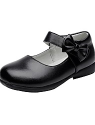 cheap -Girls' Shoes Leatherette Spring / Fall Comfort / Flower Girl Shoes Flats Bowknot / Hook & Loop for Black