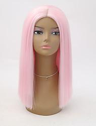 Недорогие -Синтетические кружевные передние парики Жен. Прямой Розовый Стрижка боб Искусственные волосы Жаропрочная Розовый Парик Короткие Лента спереди Розовый / Да